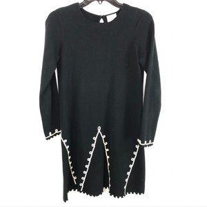 Hanna Andersson Black Sweater Dress 150 Pom Trim